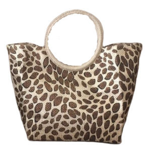 Leopard Print Tote Bag Snap Closure & Round Handle